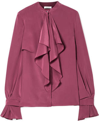 Thierry Mugler Ruffled Silk Crepe De Chine Blouse - Burgundy