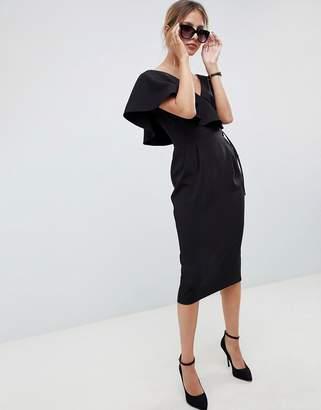 Asos Design DESIGN ruffle wrap midi dress