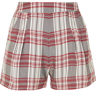Markus Lupfer Checked Satin-twill Shorts - Red