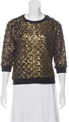 L'Agence Crew Neck Textured Sweater