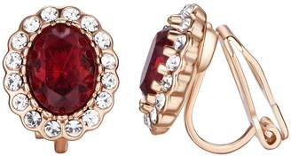 Yoursfs Burgundy Clip on Earrings For Women Halo Crystal Royal Wedding Jewelry