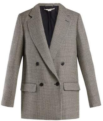 Stella McCartney Houndstooth Double Breasted Wool Blazer - Womens - Grey