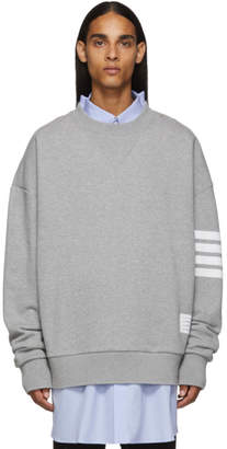 Thom Browne Grey 4-Bar Oversized Crewneck Sweatshirt
