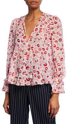 Rachel Zoe Bria Lip-Print Silk V-Neck Blouse