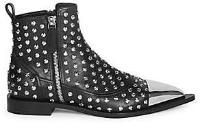 Alexander McQueen Women's Studded Cap-Toe Leather Boots