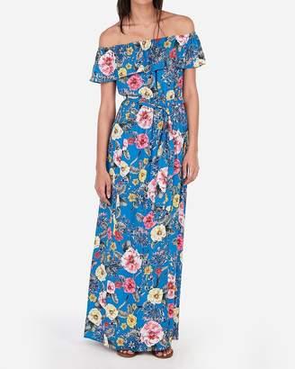 Express Floral Off The Shoulder Tie Waist Maxi Dress