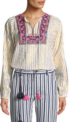 Figue Caraiva Tassel-Tie Metallic Striped Peasant Blouse