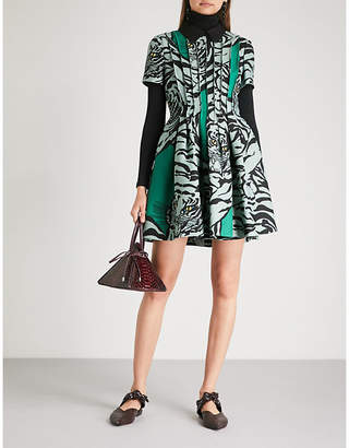 Valentino Tiger-print wool and silk-blend dress