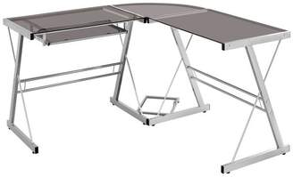 Walker Edison L Shaped Computer Desk in Silver and Smoke