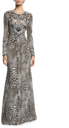 Badgley Mischka Leopard-Print Long-Sleeve A-Line Evening Gown w/ Beaded Bib