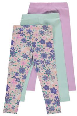 George Purple Floral Print Leggings 3 Pack