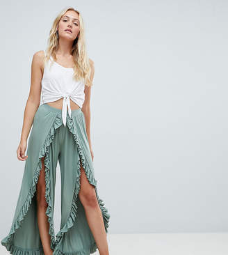 Asos Tall DESIGN Tall wide leg pants with high low frill hem