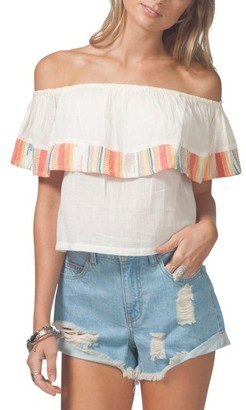 Women's Rip Curl White Sands Off The Shoulder Crop Top $46 thestylecure.com