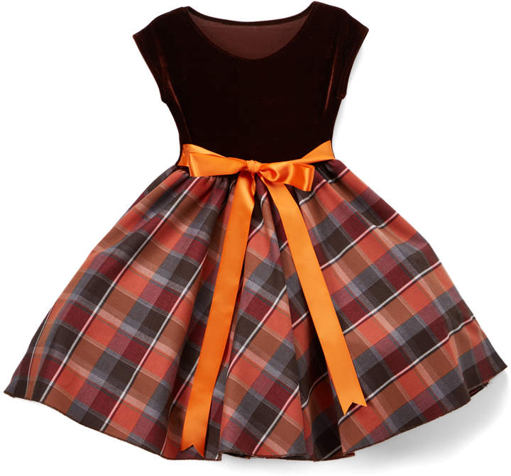 Brown & Red Plaid A-Line Dress - Toddler