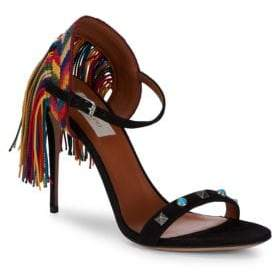Valentino Fringe Stiletto Rockstud Leather Sandals