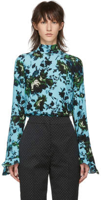 Erdem Blue and Green Fitzroy Rose Lindsey Blouse