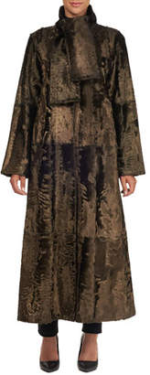 Oscar de la Renta Long Tie-Collar Lamb Fur Coat
