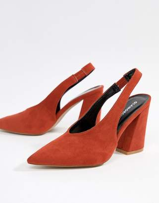 Glamorous slingback pointed heeled shoes in orange