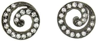 Cathy Waterman Blackened Swirl Diamond Stud Earrings