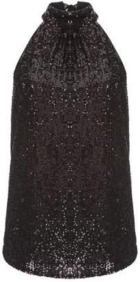 Mint Velvet Black Sequin Halter Top
