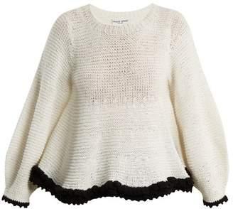 Apiece Apart Quasar Contrast Trim Cotton Blend Sweater - Womens - White Black