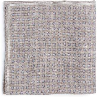 Brunello Cucinelli Geometric-print linen-blend pocket square