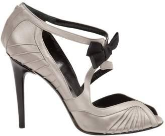 Gucci Silver Cloth Heels