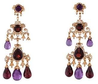 18K Garnet, Amethyst & Diamond Earrings