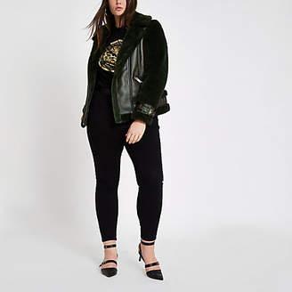 River Island Womens Plus Green faux fur aviator jacket
