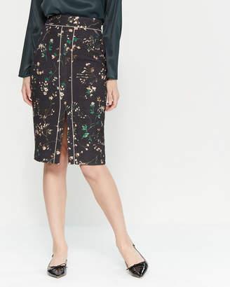 Les Copains Floral Print Wool-Blend Pencil Skirt