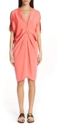 Zero Maria Cornejo Cold Shoulder Silk Crepe Dress