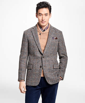 Brooks Brothers Regent Fit Harris Tweed Herringbone with Multi-Windowpane Sport Coat