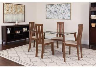 Flash Furniture Escalon 5 Piece Walnut Wood Dining Table Set with Glass Top and Vertical Wide Slat Back Wood Dining Chairs - Padded Seats