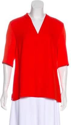 LK Bennett V-Neck Short Sleeve Top