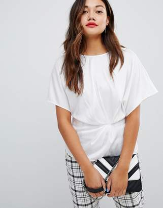 New Look satin wrap top in white