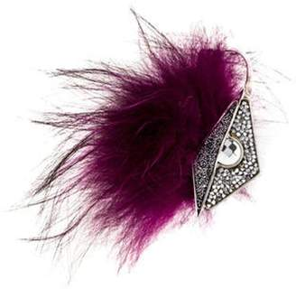 Fendi Crystal & Fur Ear Cuff Silver Crystal & Fur Ear Cuff