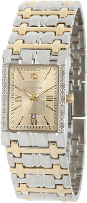 JCPenney FINE JEWELRY Personalized Dial Mens Diamond-Accent Square Two-Tone Watch
