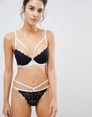New Look Strapping Contrast Lace Bra