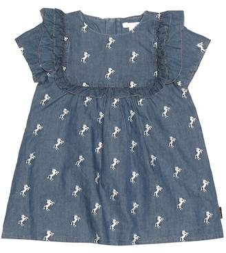 Chloé Kids Embroidered chambray dress