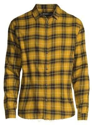 The Kooples Plaid Distressed Hem Cotton Shirt