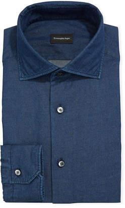 Ermenegildo Zegna Men's Solid Chambray Dress Shirt