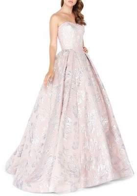 Mac Duggal Metallic Jacquard Bustier A-Line Gown