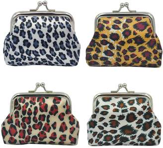 Oyachic 4 Packs Coin Pouch Canvas Purse Pattern Clasp Closure Wallet Exquisite Gift