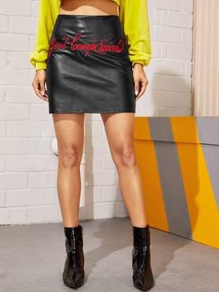Shein PU Letter Embroidery Mini Skirt