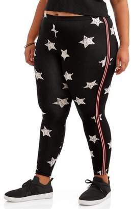 aa0529ec72d Eye Candy Juniors  Plus Size Super Soft Printed Leggings with Side Stripe