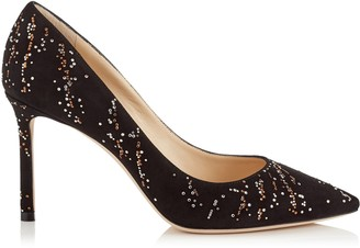 Jimmy Choo ROMY 85 Black Suede Pointy Toe Pumps with Gold Mix Hotfix Crystal Fireworks