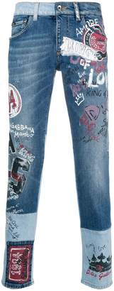 Dolce & Gabbana printed slim-fit jeans
