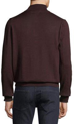 Neiman Marcus Men's Mock-Neck Zip Pullover Sweater