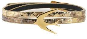 McQ Gold-Tone Metallic Cracked-Leather Bracelet