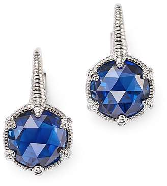 Judith Ripka Sterling Silver Eclipse Earrings with Lab-Created Blue Corundum $275 thestylecure.com